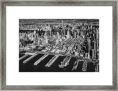 Manhattan New York City Aerial View Bw Framed Print by Susan Candelario