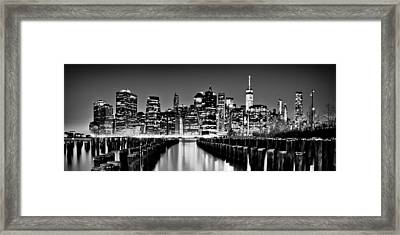 Manhattan Skyline Bw Framed Print by Az Jackson