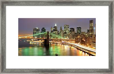Manhattan Skyline Framed Print by Sean Pavone