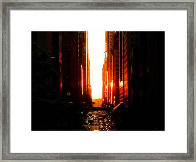 Manhattanhenge Sunset Overlooking Times Square - Nyc Framed Print by Vivienne Gucwa