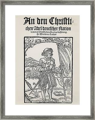 Manifesto To The Christian Nobility Of The German Nation Framed Print by German School