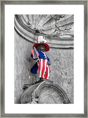 Manneken Pis On The Fourth Of July Framed Print by Georgia Fowler