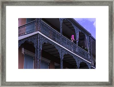 Mannequin On Balcony  Framed Print by Garry Gay