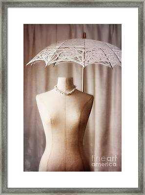 Mannequin With Parasol Framed Print by Amanda Elwell