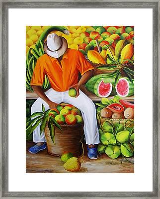 Manuel The Caribbean Fruit Vendor  Framed Print by Dominica Alcantara