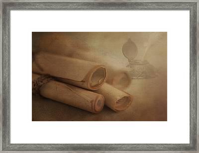 Manuscript Scrolls Still Life Framed Print by Tom Mc Nemar