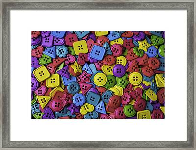 Many Colorful Buttons Framed Print by Garry Gay