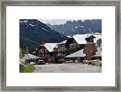 Many Glacier Lodge Framed Print by Diana Nigon