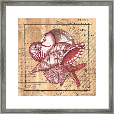 Map And Shells Framed Print by Debbie DeWitt