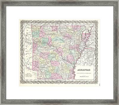 Map Of Arkansas Framed Print by Joseph Hutchins Colton
