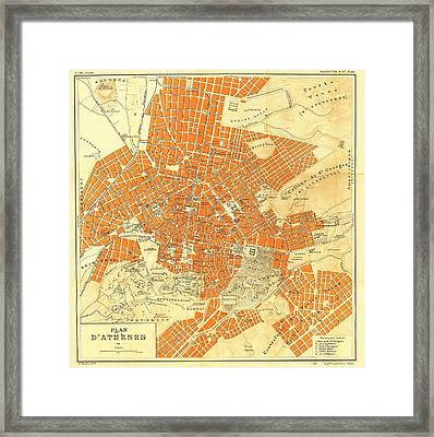Map Of Athens 1896 Framed Print by Mountain Dreams