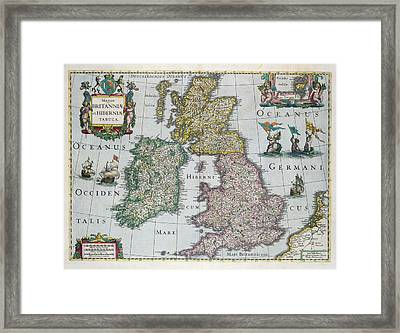 Map Of Britain Framed Print by English school
