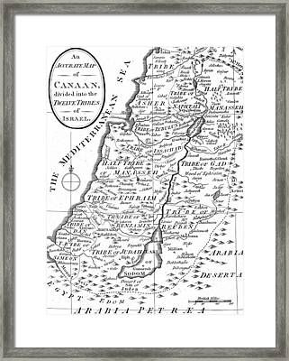 Map Of Canaan Showing The Twelve Tribes Framed Print by English School
