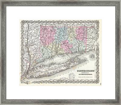Map Of Connecticut And Long Island Framed Print by Joseph Hutchins Colton