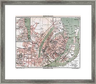 Map Of Copenhagen 1888 Framed Print by Mountain Dreams