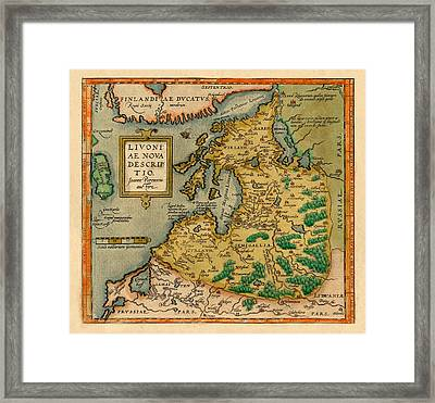 Map Of Estonia 1580 Framed Print by Andrew Fare
