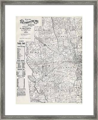 Map Of Franklin County Ohio 1883 Framed Print by Mountain Dreams
