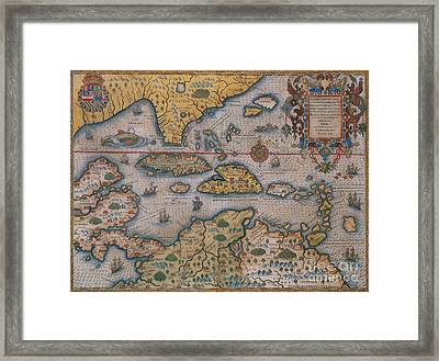 Map Of Gulf Of Mexico And C Framed Print by Photo Researchers