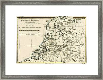 Map Of Holland Including The Seven United Provinces Of The Low Countries Framed Print by Guillaume Raynal
