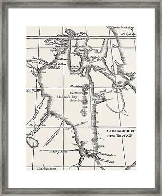 Map Of Hudson Bay Framed Print by Henry Ellis