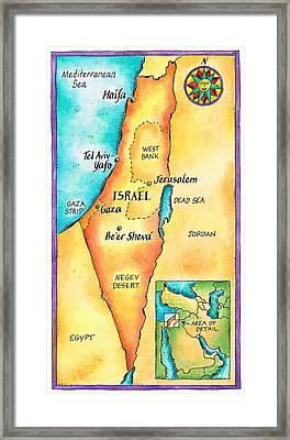 Map Of Israel Framed Print by Jennifer Thermes