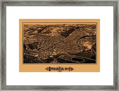 Map Of Ithaca 1882 Framed Print by Andrew Fare