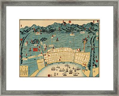 Map Of Kobe 1868 Framed Print by Andrew Fare