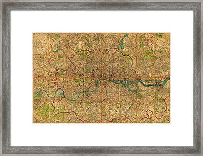 Map Of London England United Kingdom Vintage Street Map Schematic Circa 1899 On Old Worn Parchment  Framed Print by Design Turnpike