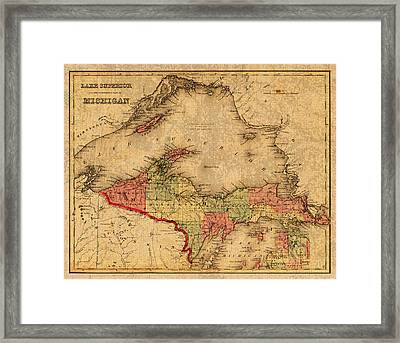 Map Of Michigan Upper Peninsula And Lake Superior Vintage Circa 1873 On Worn Distressed Canvas  Framed Print by Design Turnpike