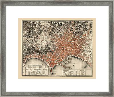 Map Of Naples 1860 Framed Print by Andrew Fare