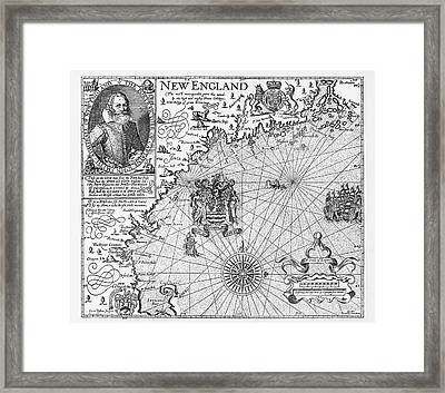 Map Of New England By Explorer John Smith, Circa 1624 Framed Print by Peacock Graphics
