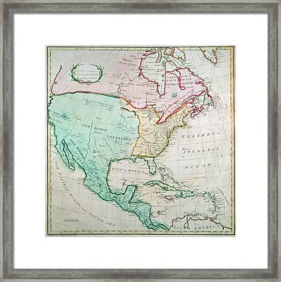 Map Of North America Framed Print by English School