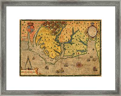 Map Of Roanoke Virginia Lost Colony 1585 Vintage Schematic Of Ocean Coast On Worn Parchment Framed Print by Design Turnpike