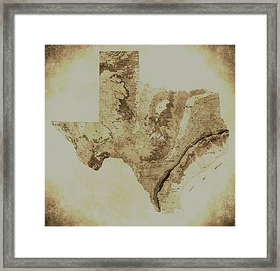 Map Of Texas In Vintage Framed Print by Sarah Broadmeadow-Thomas
