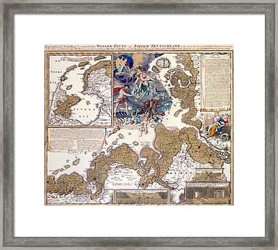 Map Of The Christmas Flood Of 1717 Framed Print by Johann Baptista Homann