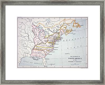 Map Of The Colonies Of North America At The Time Of The Declaration Of Independence Framed Print by American School