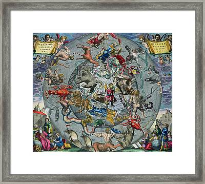 Map Of The Constellations Of The Northern Hemisphere Framed Print by Andreas Cellarius