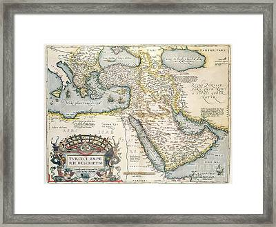 Map Of The Middle East From The Sixteenth Century Framed Print by Abraham Ortelius