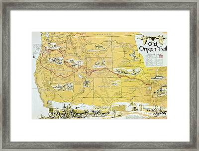 Map Of The Old Oregon Trail Framed Print by American School