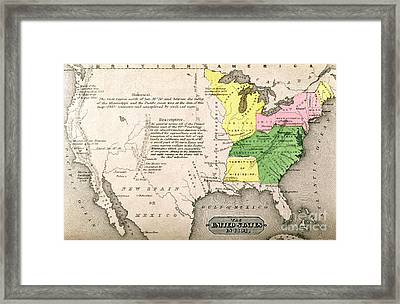 Map Of The United States Framed Print by John Warner Barber and Henry Hare