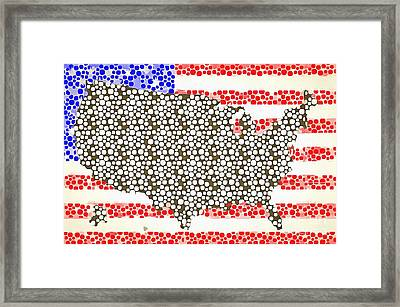 Map Of The United States Of America Pop Art Framed Print by Edward Fielding