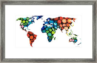 Map Of The World 1 -colorful Abstract Art Framed Print by Sharon Cummings