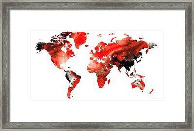 Map Of The World 10 -colorful Abstract Art Framed Print by Sharon Cummings