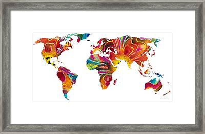 Map Of The World 2 -colorful Abstract Art Framed Print by Sharon Cummings