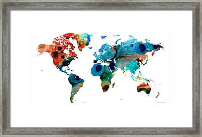 Map Of The World 6 -colorful Abstract Art Framed Print by Sharon Cummings