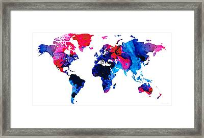 Map Of The World 9 -colorful Abstract Art Framed Print by Sharon Cummings