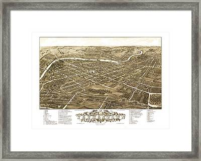 Map Of Youngstown Ohio 1882 Framed Print by Mountain Dreams