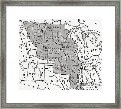 Map Showing The Louisiana Purchase Framed Print by American School