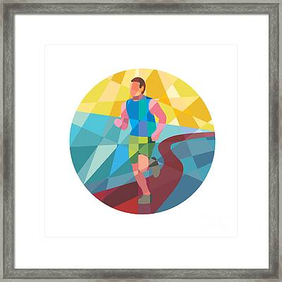 Marathon Runner In Action Circle Low Polygon Framed Print by Aloysius Patrimonio