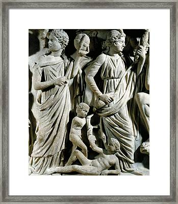 Marble Sarcophagus, Relief Depicting Prometheus Myth Framed Print by Roman School